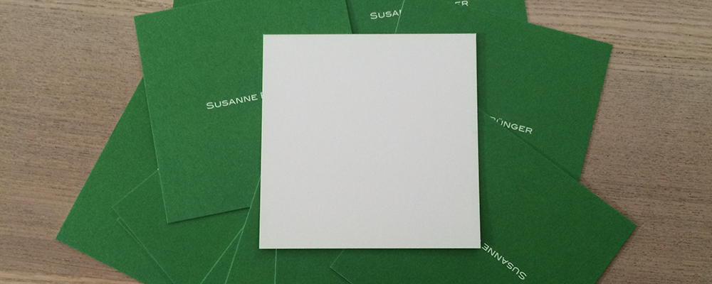 quadratische Visitenkarten und Notizkarten